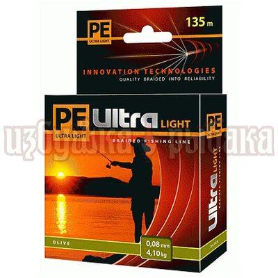Шнур PE Ultra Light Olive 135м 0.08мм 4.1кг