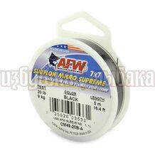 Поводочный материал AFW Surflon Micro Suprime 7*7 5м 0.38мм 9кг цвет Black