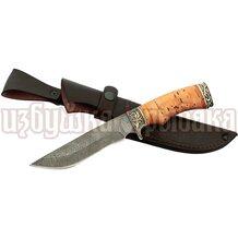 Нож Галеон кованый, дамасская сталь, береста, литьё