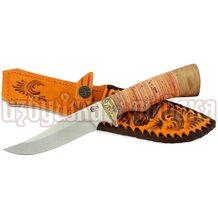 Нож Путник кованый, сталь 65Х13, береста, литьё